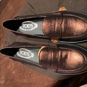 Tod's Bronze Crackled Leather Loafers